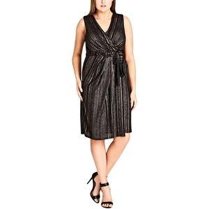 City Chic Black & Bronze Sleeveless Wrap Dress 20